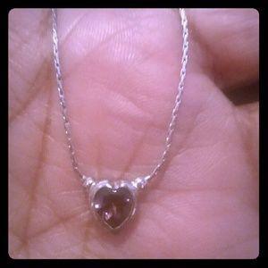 Purple Heart Silvertone Necklace..